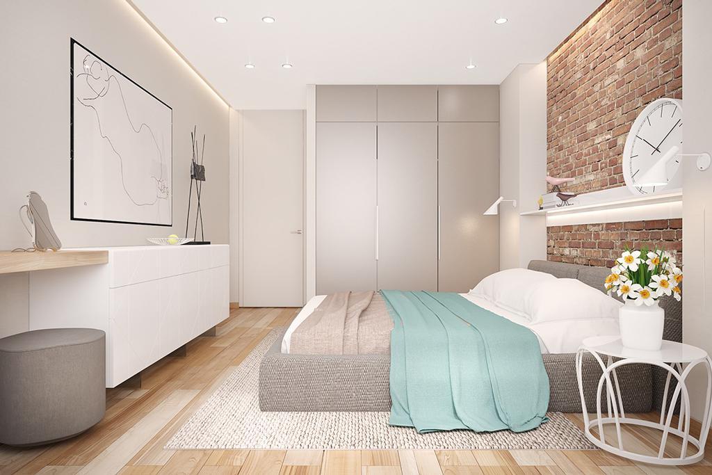 دکوراسیون داخلی اتاق خواب با دیوار های آجری