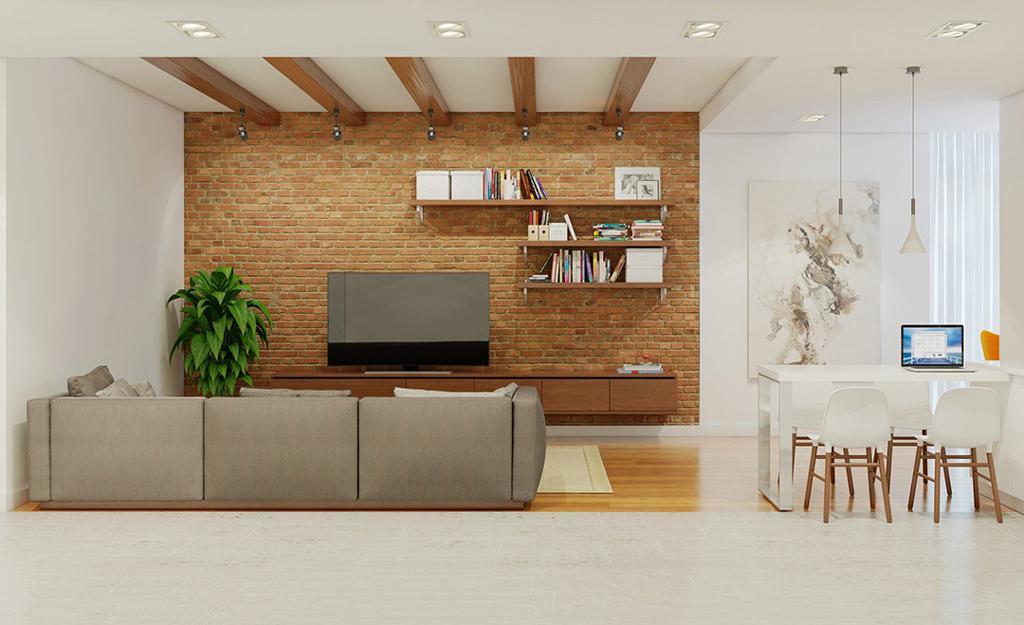 طراحی دکوراسیون داخلی منزل با دیوار های آجری