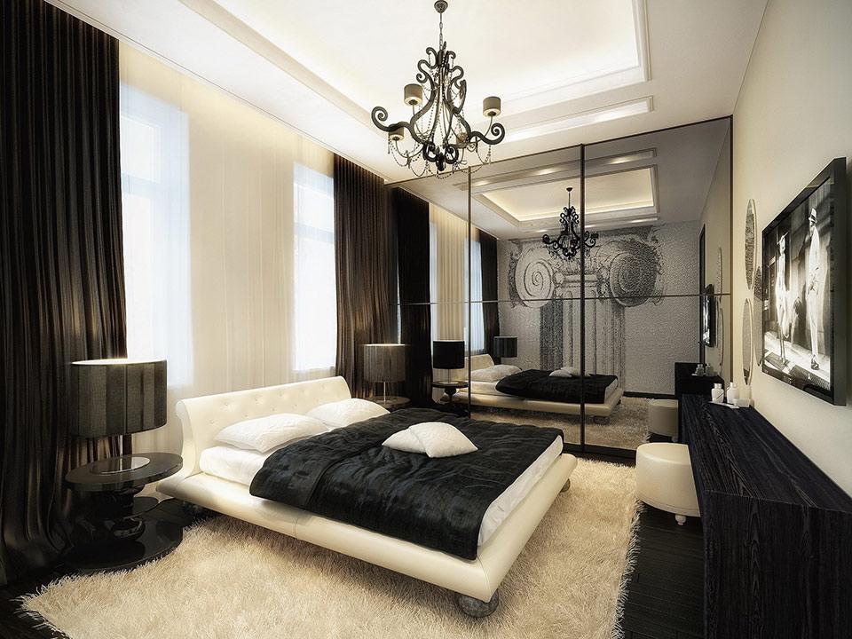 طراحی دکوراسیون داخلی اتاق خواب سیاه و سفید