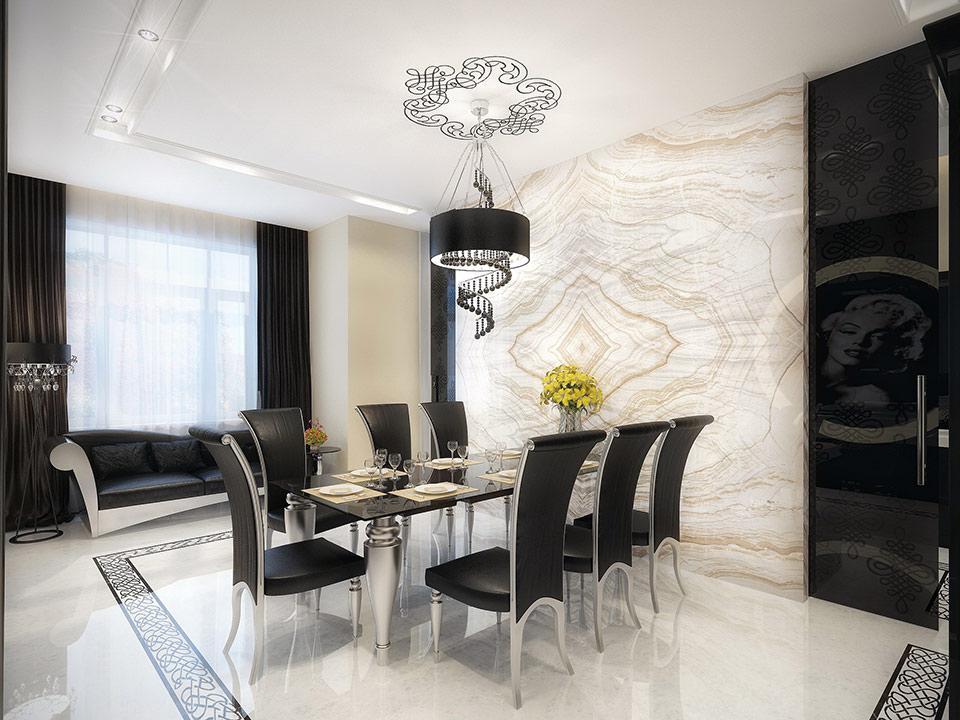 طراحی دکوراسیون داخلی آپارتمان لوکس سیاه و سفید