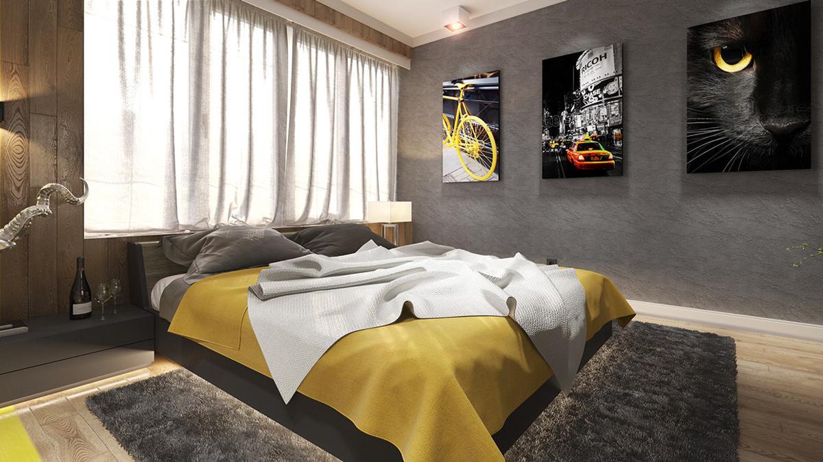 دکوراسیون داخلی اتاق خواب زرد
