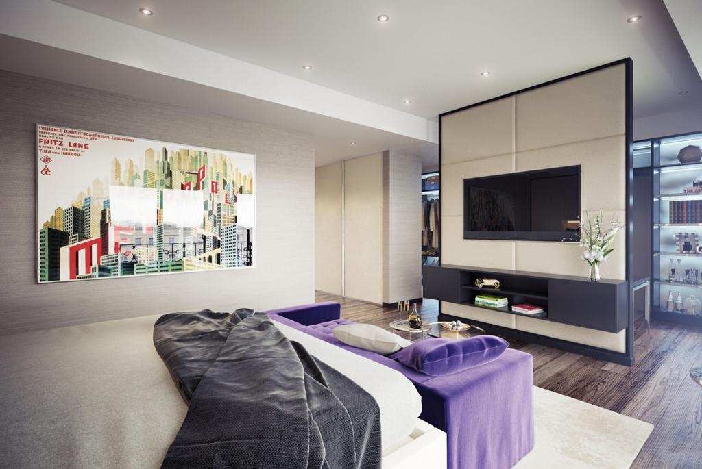 دکوراسیون داخلی اتاق خواب بنفش