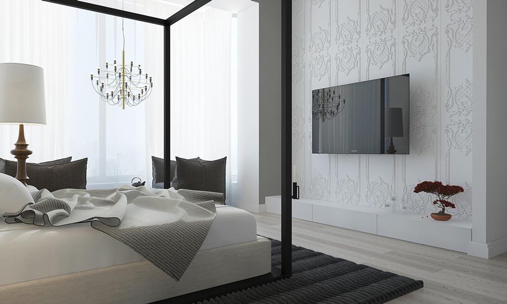 دکوراسیون داخلی خواب سفید