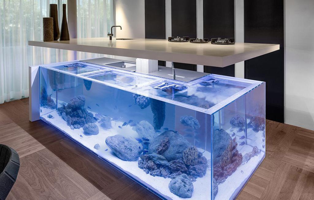 طراحی داخلی آشپزخانه به شکل آکواریوم
