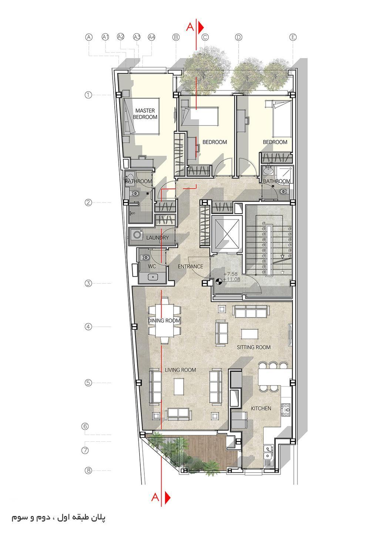 نقشه ساختمان مسکونی چهار طبقه