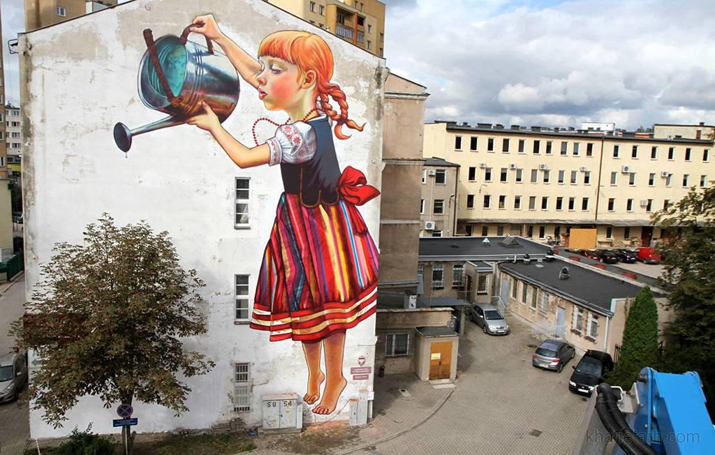 طراحی نمای ساختمان با نقاشی دیواری