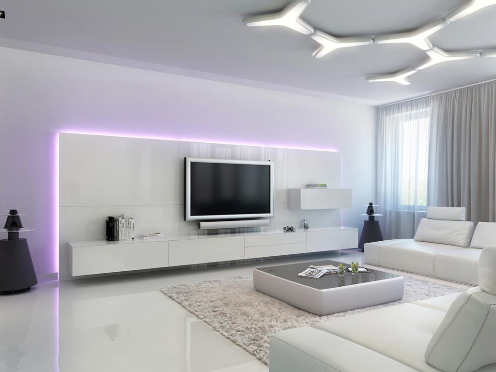دکوراسیون داخلی خانه با نورپردازی سفید