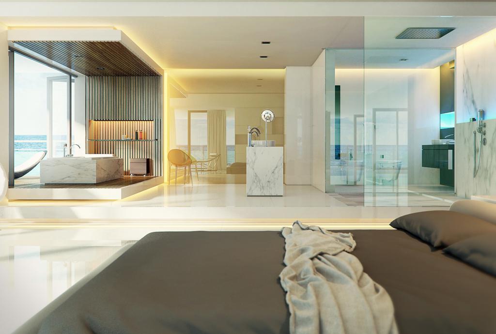 طراحی حمام لوکس - سفید
