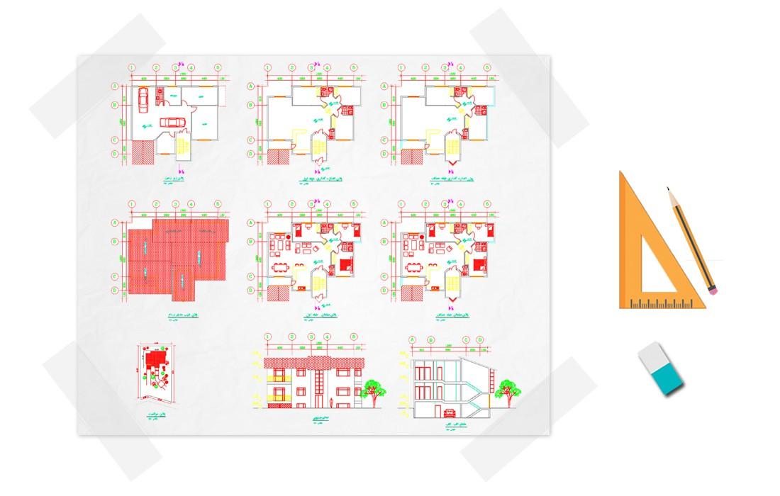 نقشه خانه سه خوابه 150 متری