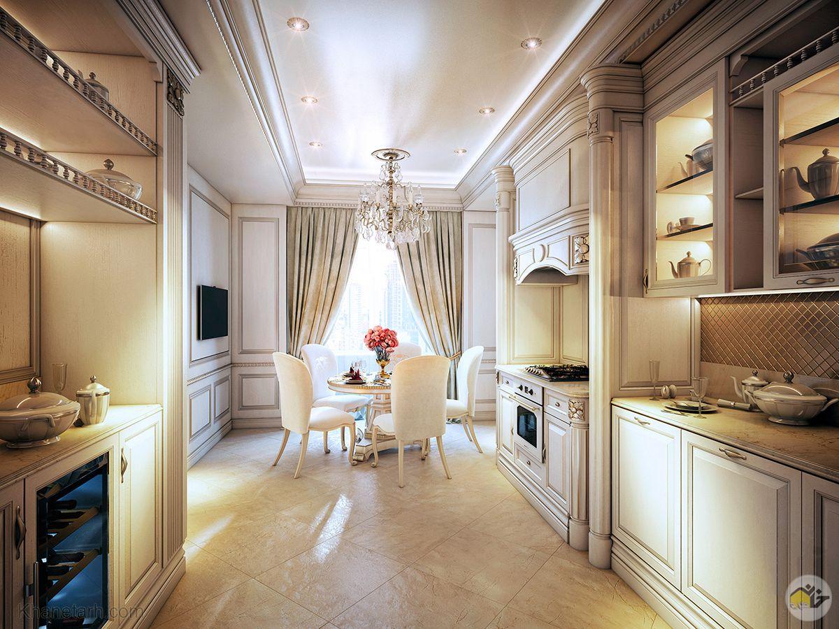 کابینت سفید طلایی