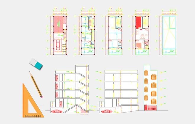 نقشه ساختمان با عرض 5 متر