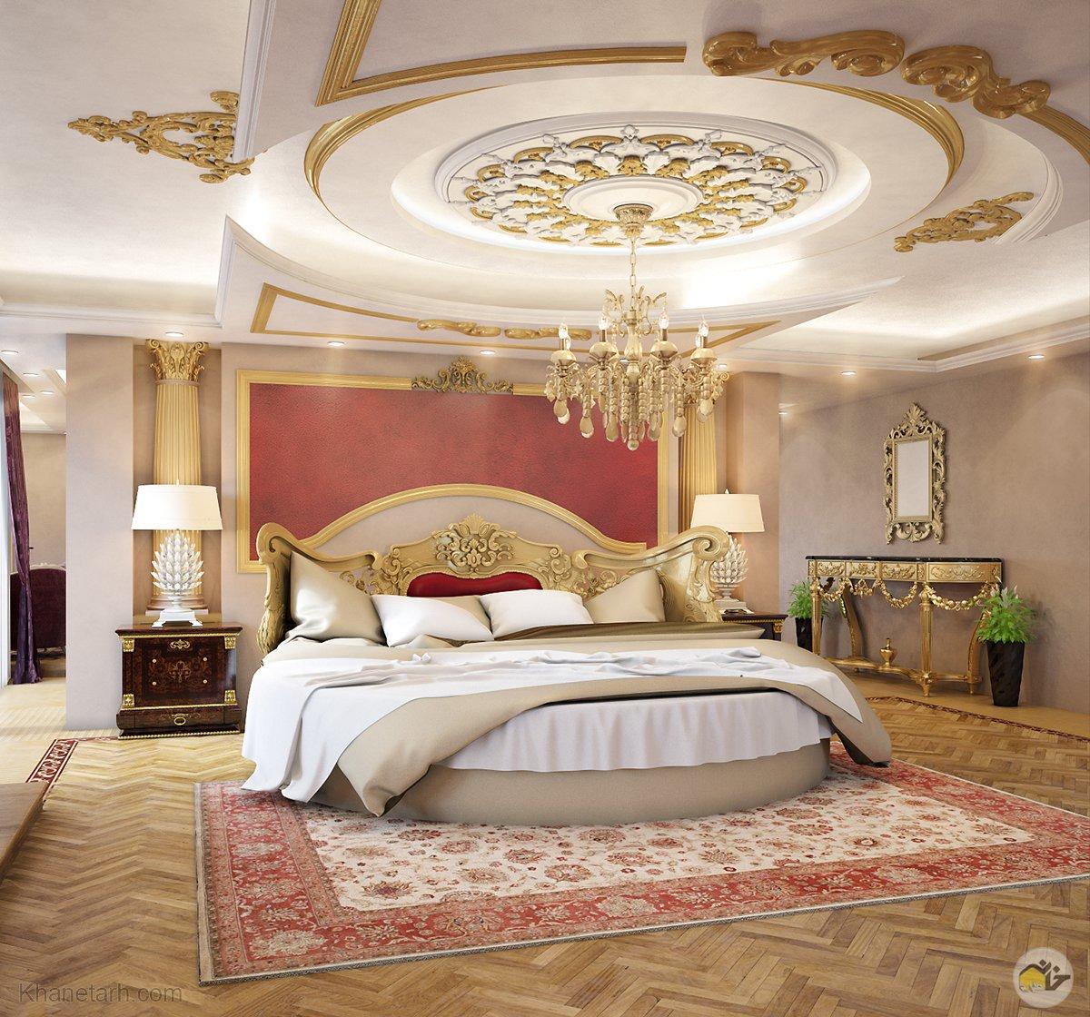 گچبری سقف اتاق خواب