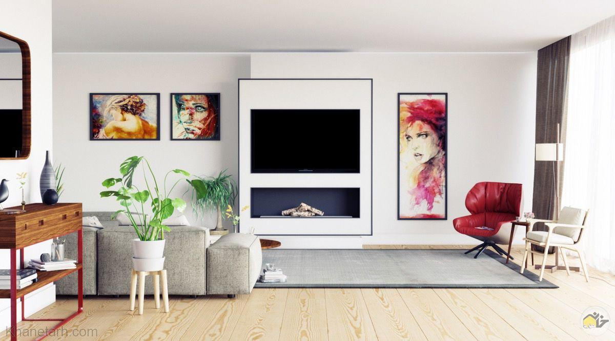 طراحی میز تلویزیون روی دیوار