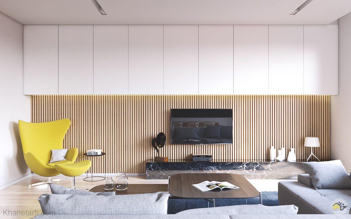 دکور چوبی پشت تلویزیون