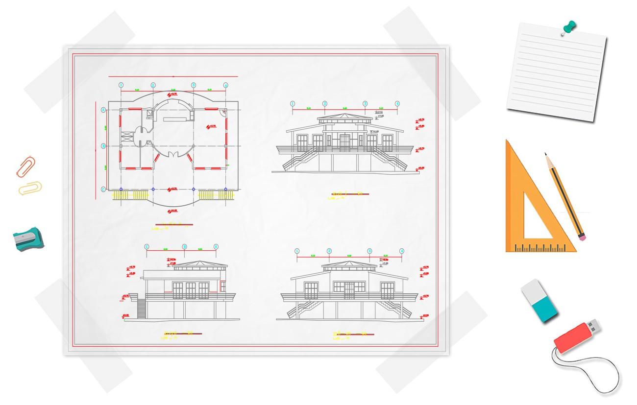نقشه خانه ویلایی دو خوابه