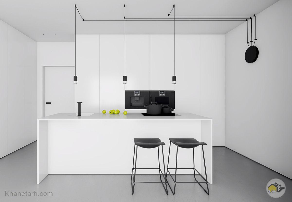طرح کابینت آشپزخانه سفید