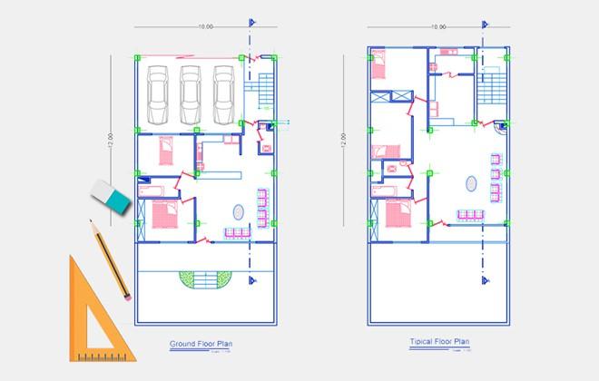 نقشه ساختمان مسکونی 120 متری