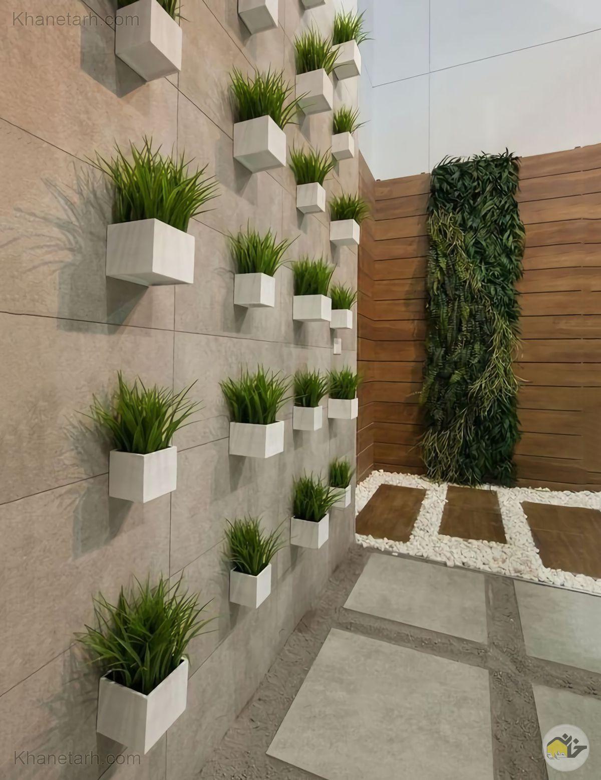 نمای دیوار حیاط ساختمان