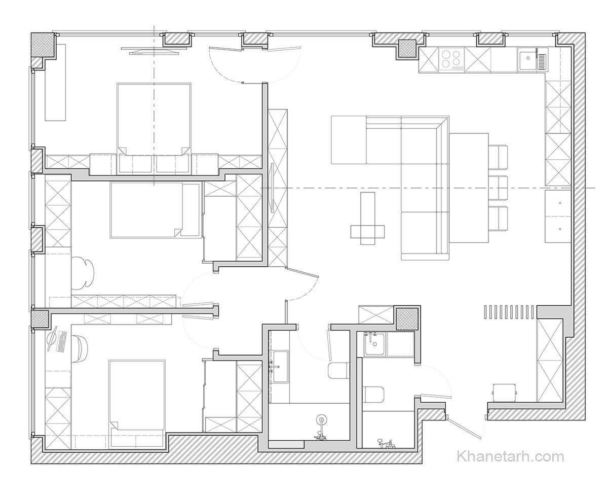 نقشه خانه سه خوابه ساده 100 متری