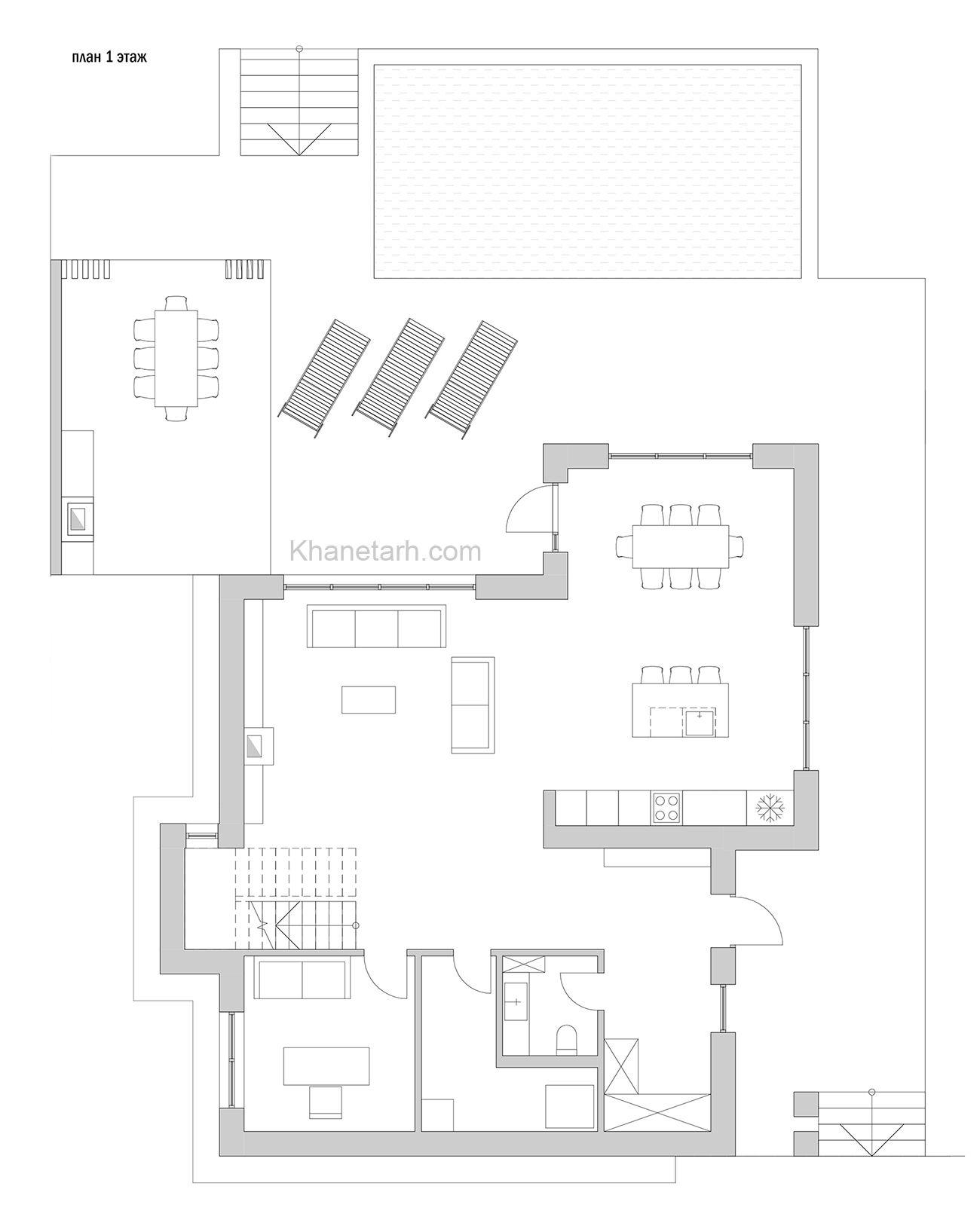 نقشه خانه دو خوابه 100 متری ویلایی