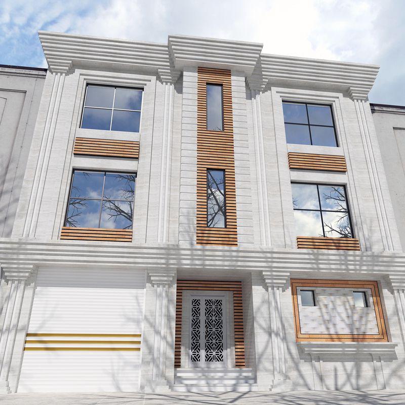 طراحی نمای ساختمان سه طبقه جنوبی