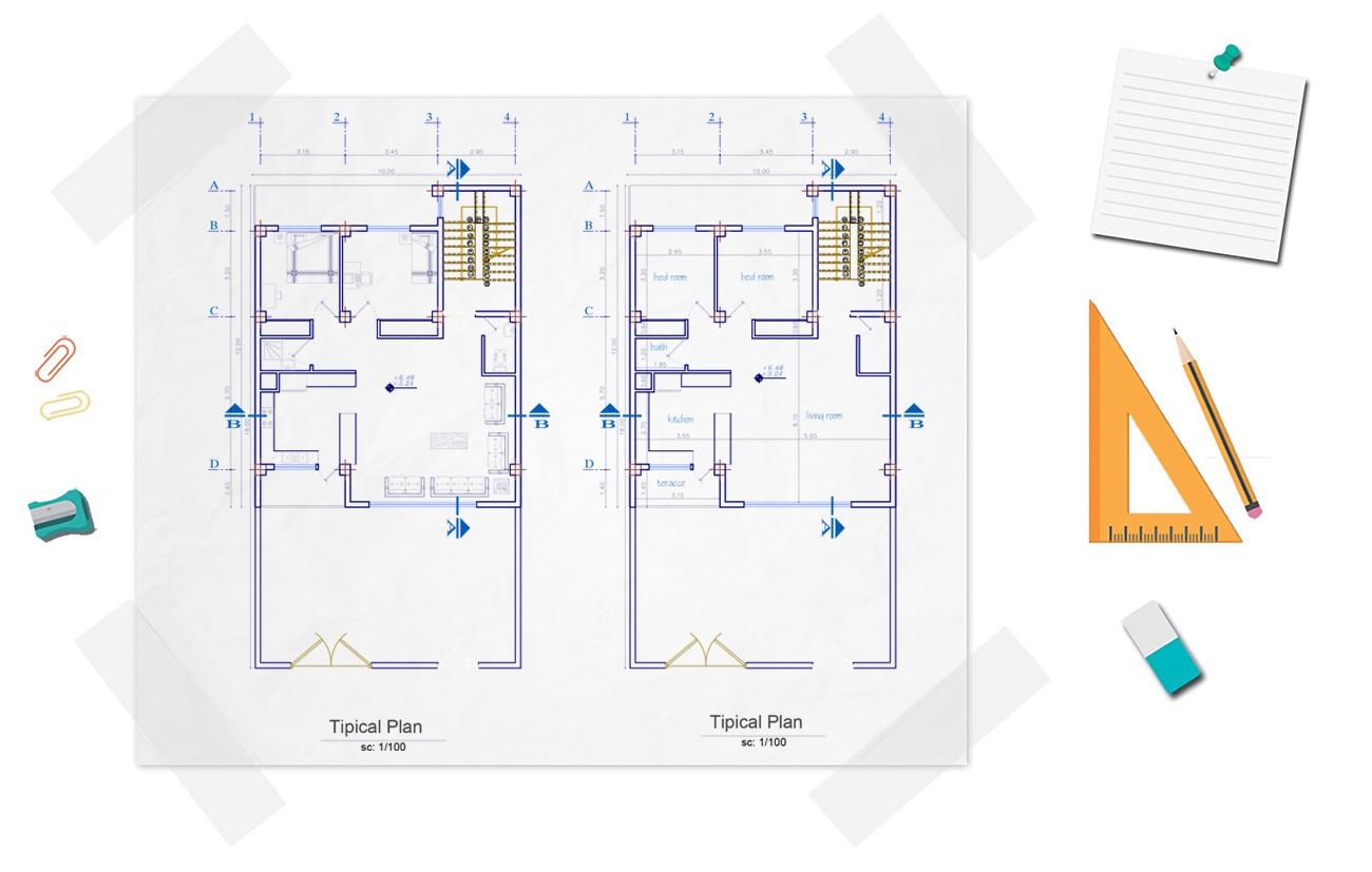 نقشه خانه دو خوابه 120 متری