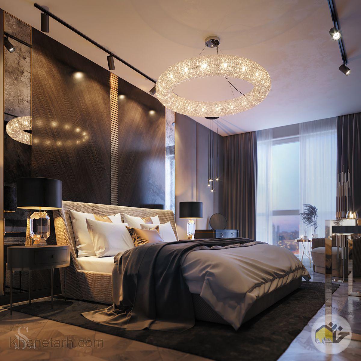 دکوراسیون اتاق خواب با رنگ قهوه ای