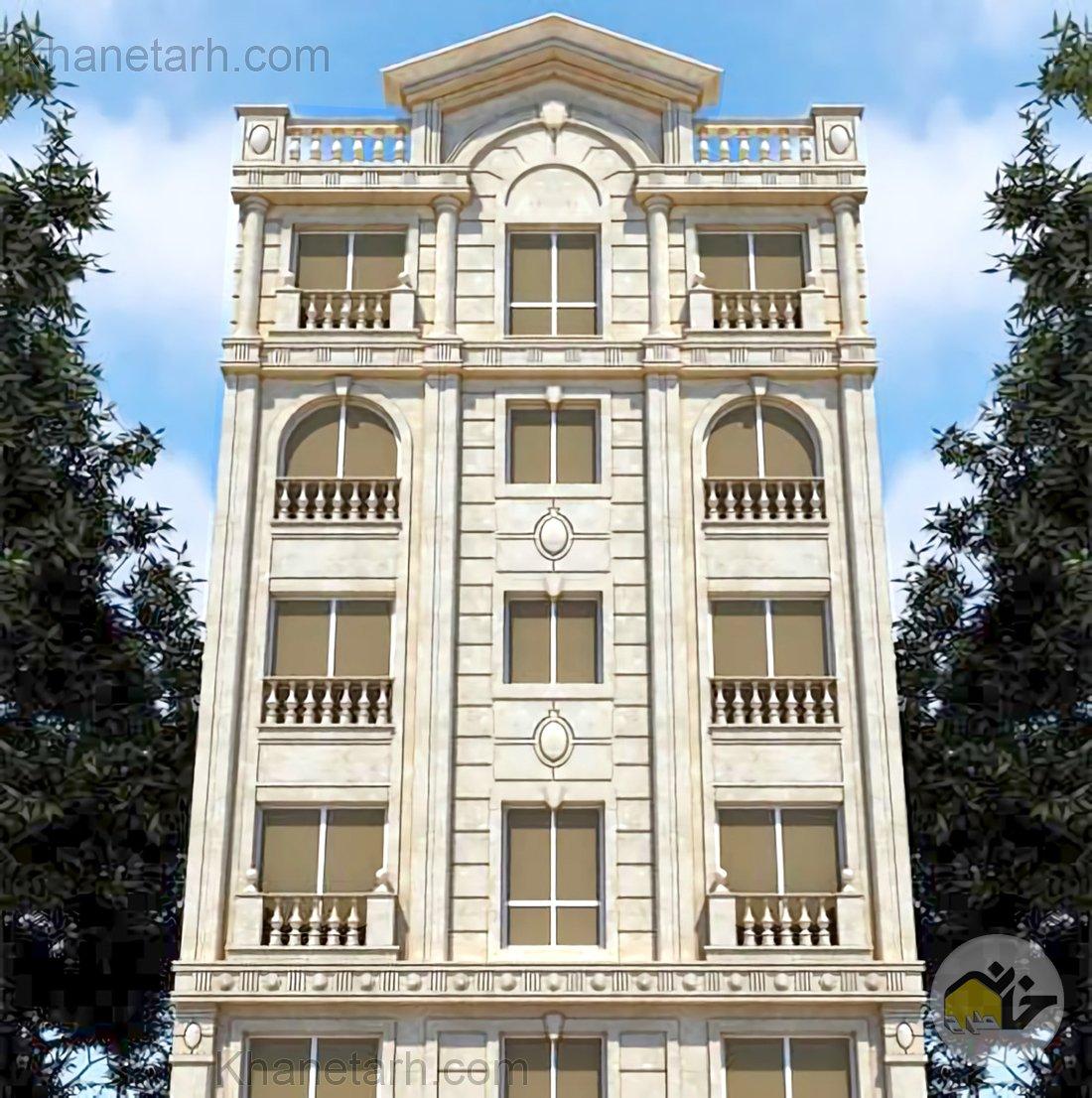 نمای ساختمان 5 طبقه